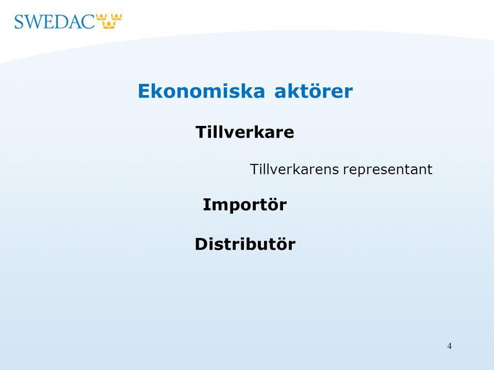 4 Ekonomiska aktörer Tillverkare Tillverkarens representant Importör Distributör