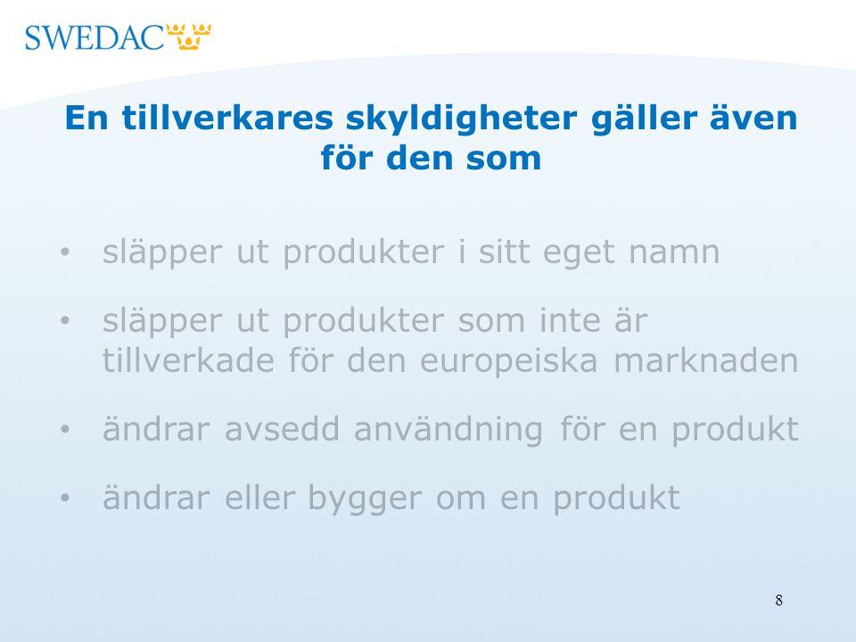8 En tillverkares skyldigheter gäller även för den som släpper ut produkter i sitt eget namn släpper ut produkter som inte är tillverkade för den europeiska marknaden ändrar avsedd användning för en produkt ändrar eller bygger om en produkt