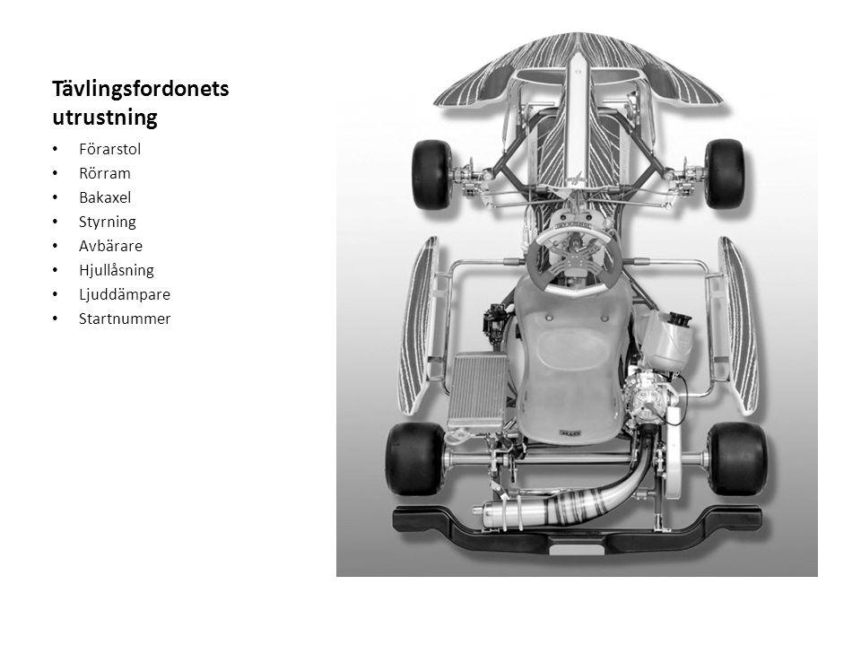Tävlingsfordonets utrustning Förarstol Rörram Bakaxel Styrning Avbärare Hjullåsning Ljuddämpare Startnummer