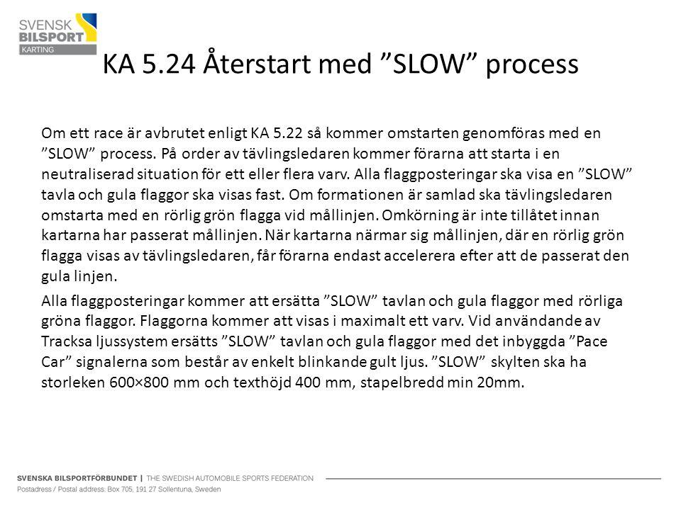 """KA 5.24 Återstart med """"SLOW"""" process Om ett race är avbrutet enligt KA 5.22 så kommer omstarten genomföras med en """"SLOW"""" process. På order av tävlings"""
