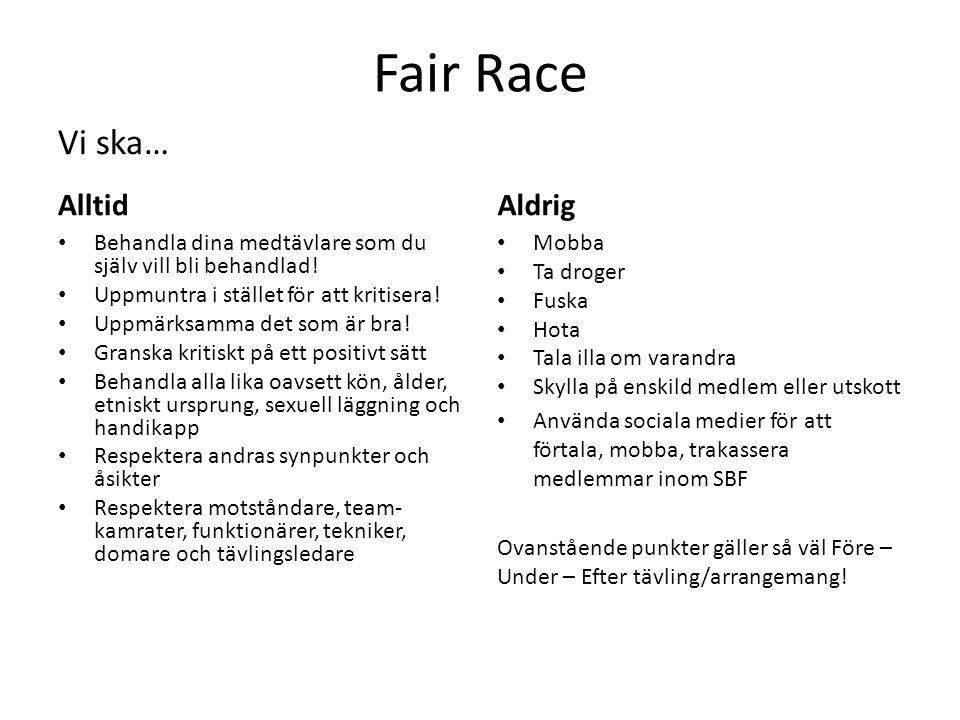 Fair Race Alltid Behandla dina medtävlare som du själv vill bli behandlad! Uppmuntra i stället för att kritisera! Uppmärksamma det som är bra! Granska