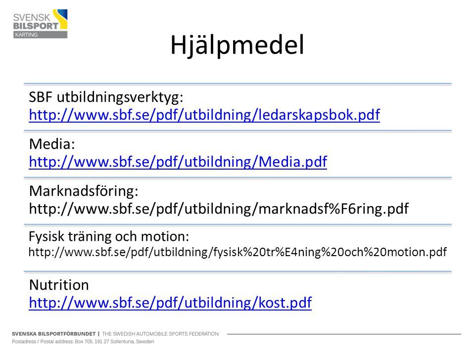 Hjälpmedel SBF utbildningsverktyg: http://www.sbf.se/pdf/utbildning/ledarskapsbok.pdf http://www.sbf.se/pdf/utbildning/ledarskapsbok.pdf Media: http://www.sbf.se/pdf/utbildning/Media.pdf http://www.sbf.se/pdf/utbildning/Media.pdf Marknadsföring: http://www.sbf.se/pdf/utbildning/marknadsf%F6ring.pdf Fysisk träning och motion: http://www.sbf.se/pdf/utbildning/fysisk%20tr%E4ning%20och%20motion.pdf Nutrition http://www.sbf.se/pdf/utbildning/kost.pdf http://www.sbf.se/pdf/utbildning/kost.pdf