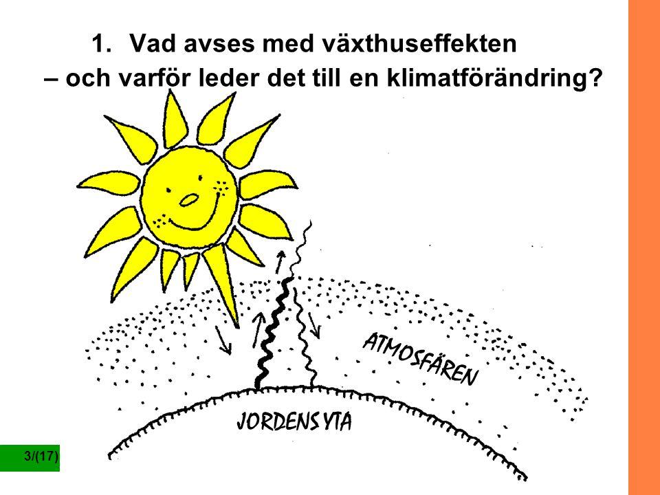 3/(17) 1.Vad avses med växthuseffekten – och varför leder det till en klimatförändring? JORDENS YTA ATMOSFÄREN