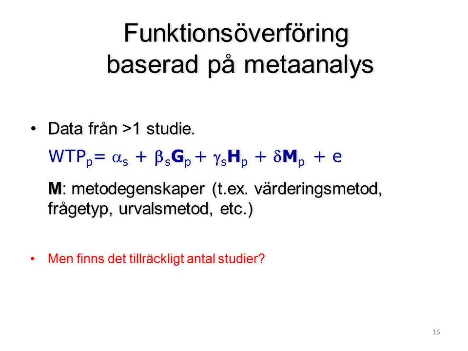 16 Funktionsöverföring baserad på metaanalys Data från >1 studie. WTP p =  s +  s G p +  s H p + M p + e M: metodegenskaper (t.ex. värderingsmetod