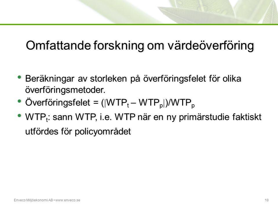 Enveco Miljöekonomi AB www.enveco.se18 Omfattande forskning om värdeöverföring Beräkningar av storleken på överföringsfelet för olika överföringsmetod