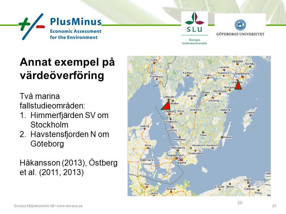 Enveco Miljöekonomi AB www.enveco.se20 Annat exempel på värdeöverföring Två marina fallstudieområden: 1.Himmerfjärden SV om Stockholm 2.Havstensfjorde