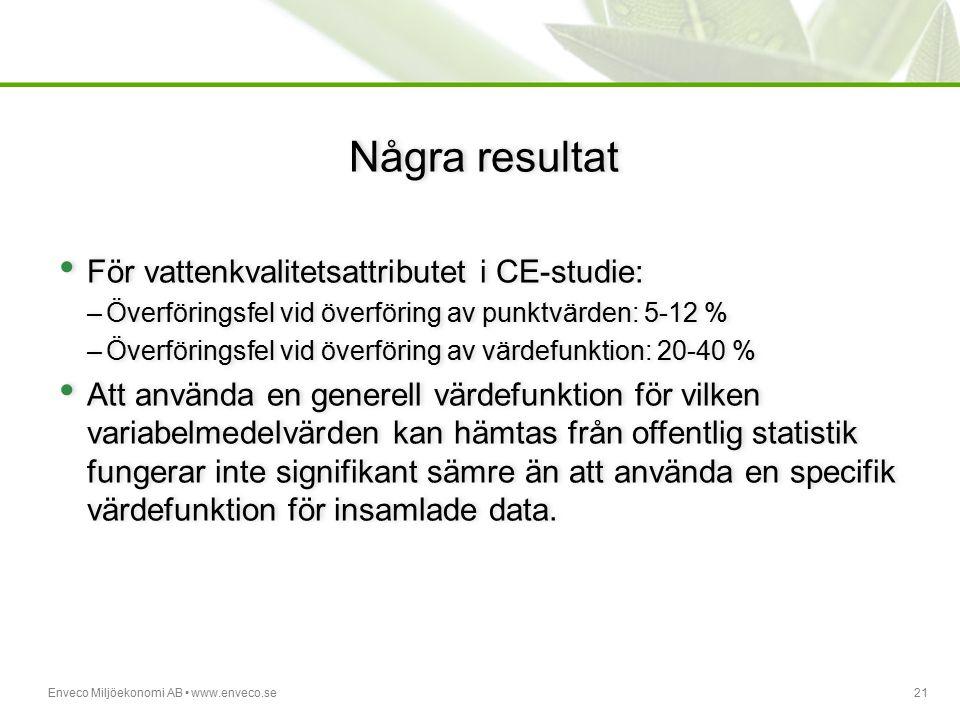 Enveco Miljöekonomi AB www.enveco.se21 Några resultat För vattenkvalitetsattributet i CE-studie: –Överföringsfel vid överföring av punktvärden: 5-12 %
