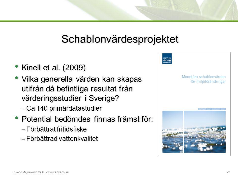 Enveco Miljöekonomi AB www.enveco.se22 Schablonvärdesprojektet Kinell et al. (2009) Vilka generella värden kan skapas utifrån då befintliga resultat f