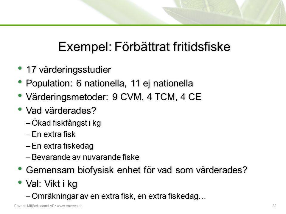 Enveco Miljöekonomi AB www.enveco.se23 Exempel: Förbättrat fritidsfiske 17 värderingsstudier Population: 6 nationella, 11 ej nationella Värderingsmeto