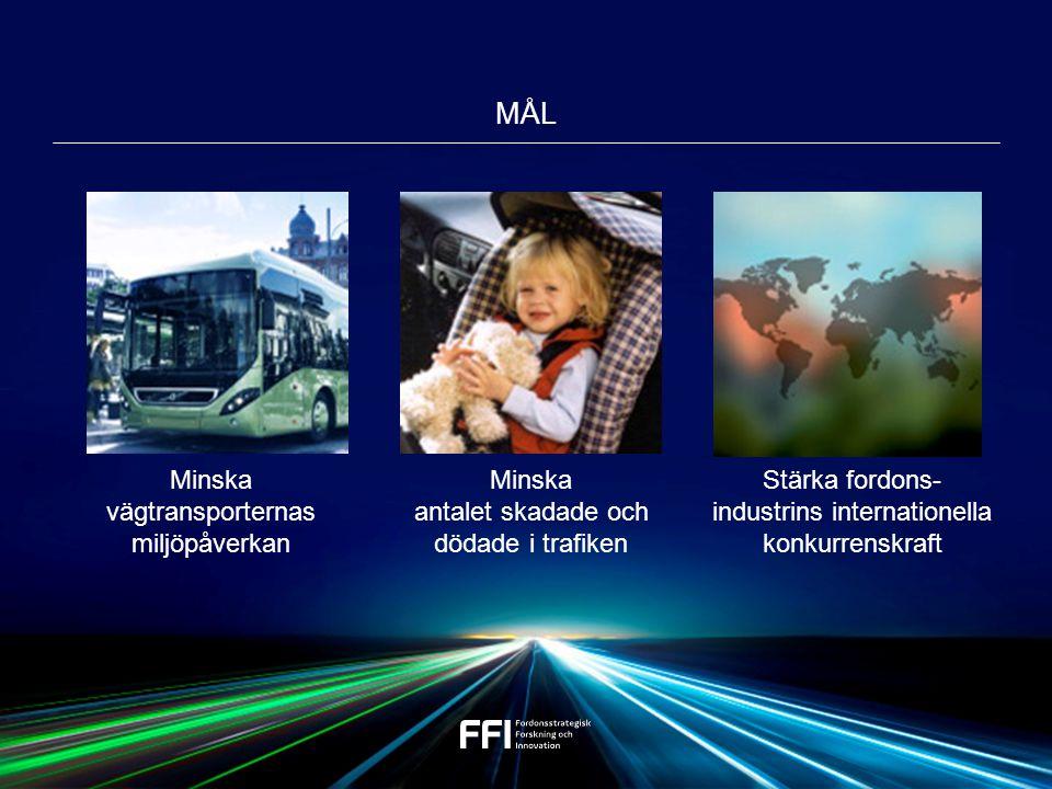  att vi närmar oss nollvisionen  att forskningsmiljöer inom industri, universitet och institut stärks  att teknik utvecklas hos fordonstillverkare och leverantörsindustri är internationellt ledande  att en fossilfri fordonsflotta uppnås FFI BIDRAR TILL