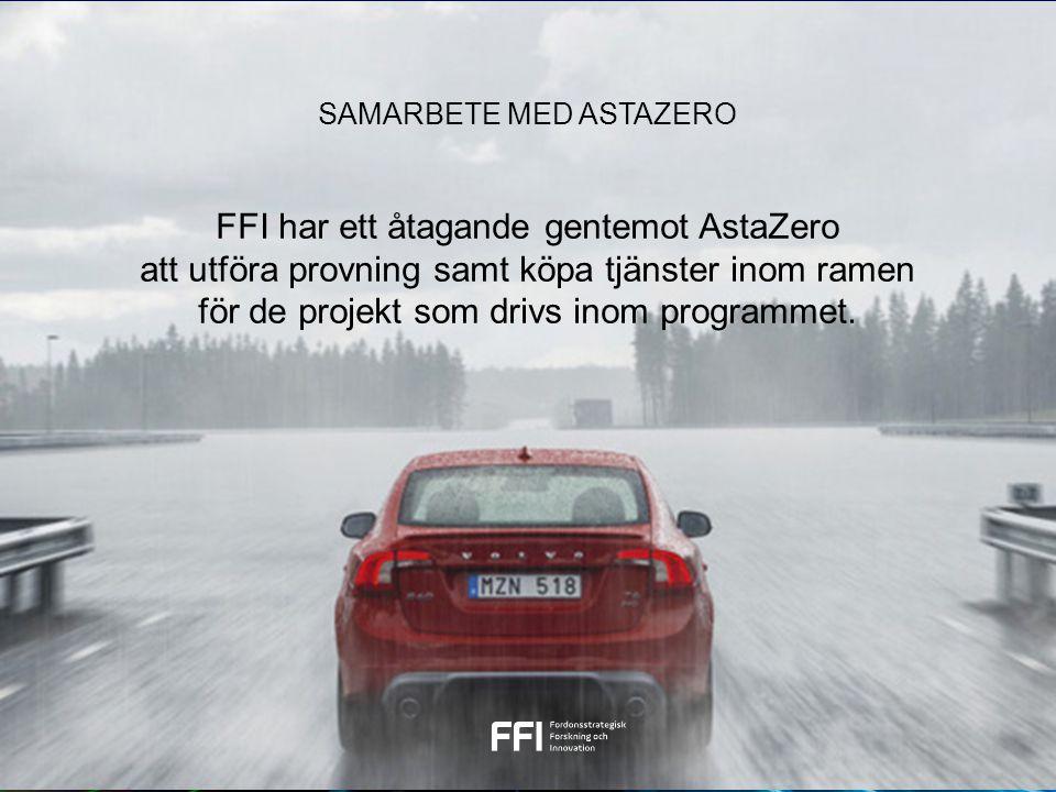 FFI har ett åtagande gentemot AstaZero att utföra provning samt köpa tjänster inom ramen för de projekt som drivs inom programmet. SAMARBETE MED ASTAZ