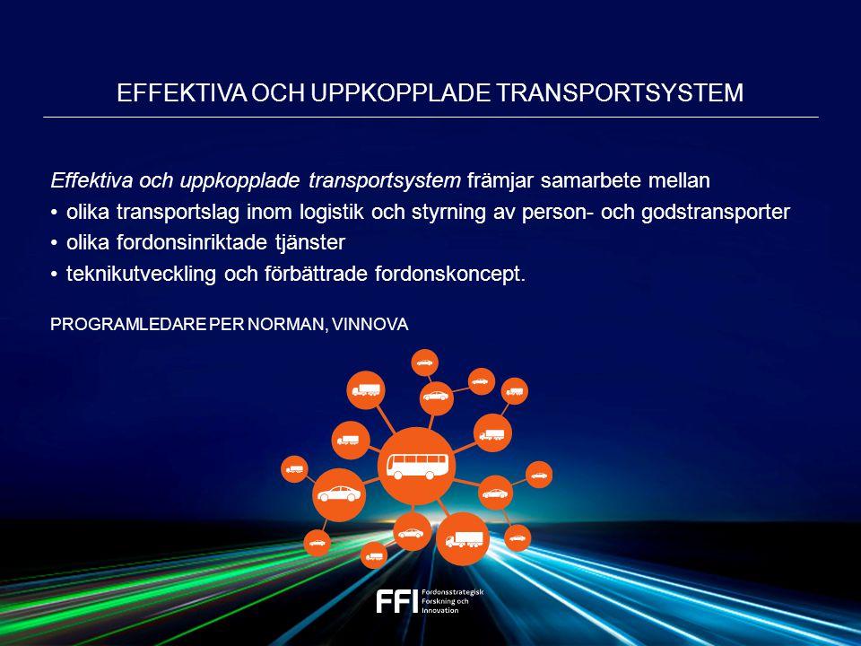 Effektiva och uppkopplade transportsystem främjar samarbete mellan olika transportslag inom logistik och styrning av person- och godstransporter olika fordonsinriktade tjänster teknikutveckling och förbättrade fordonskoncept.