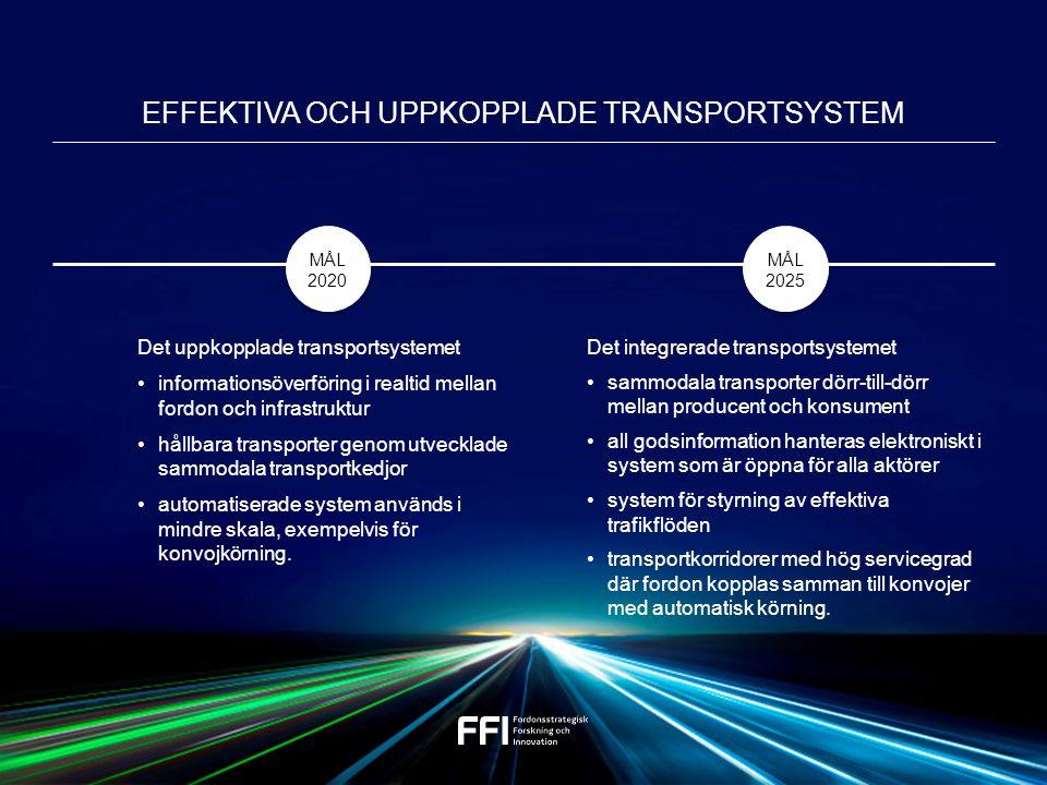 Det uppkopplade transportsystemet informationsöverföring i realtid mellan fordon och infrastruktur hållbara transporter genom utvecklade sammodala transportkedjor automatiserade system används i mindre skala, exempelvis för konvojkörning.