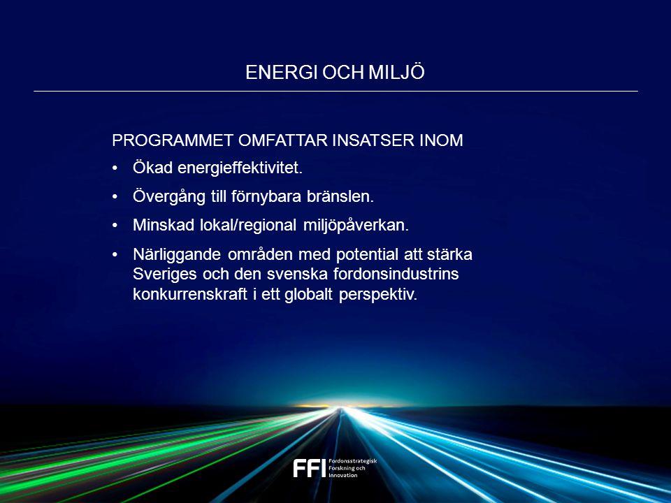 PROGRAMMET OMFATTAR INSATSER INOM Ökad energieffektivitet.