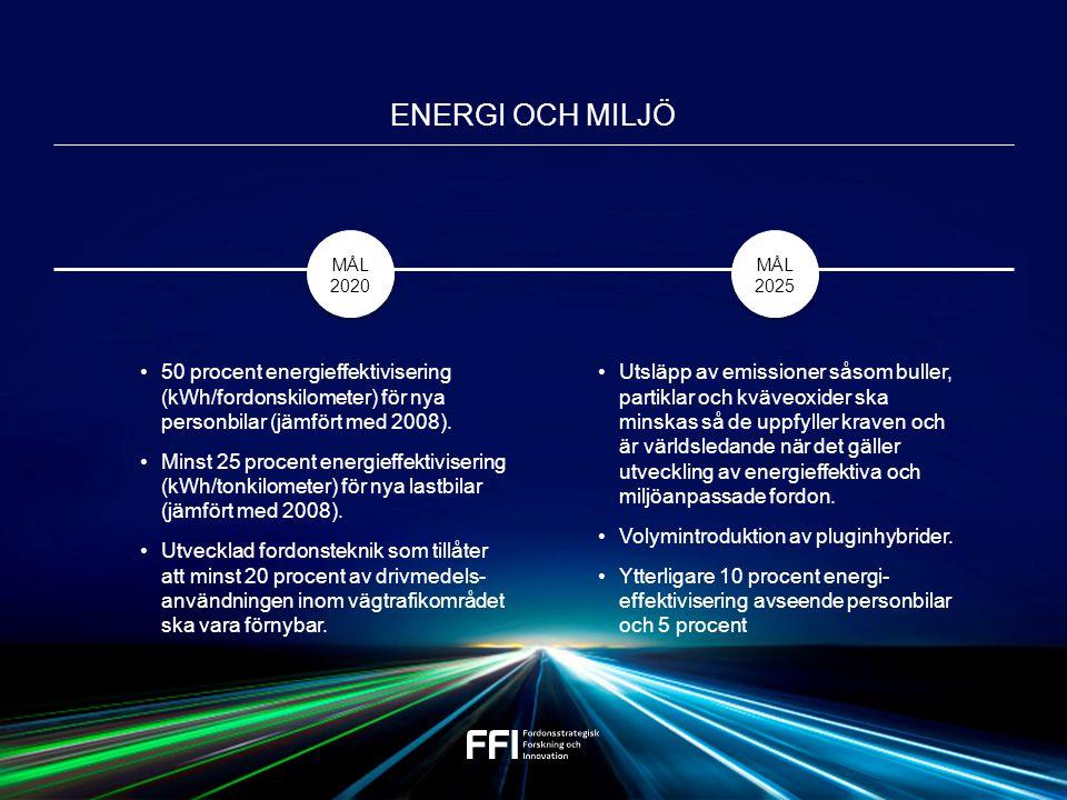 50 procent energieffektivisering (kWh/fordonskilometer) för nya personbilar (jämfört med 2008).