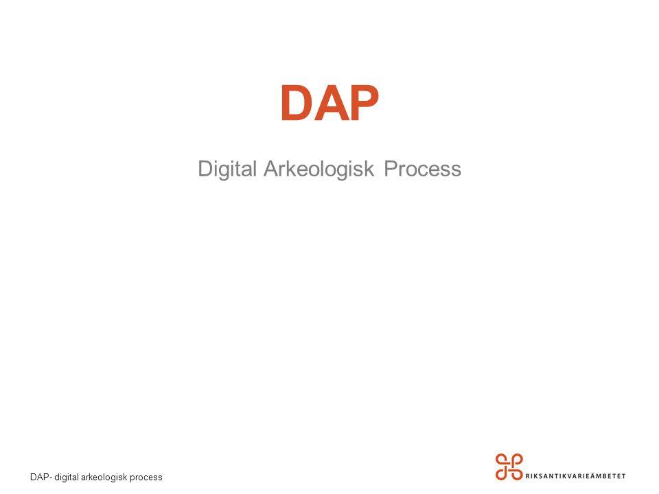 DAP- digital arkeologisk process DAP Digital Arkeologisk Process