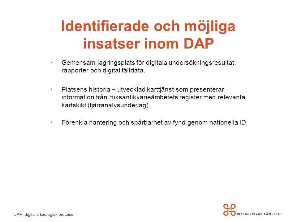 DAP- digital arkeologisk process Gemensam lagringsplats för digitala undersökningsresultat, rapporter och digital fältdata. Platsens historia – utveck