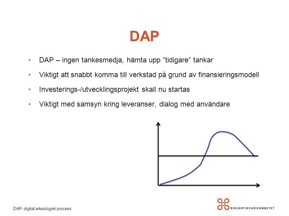 """DAP- digital arkeologisk process DAP DAP – ingen tankesmedja, hämta upp """"tidigare"""" tankar Viktigt att snabbt komma till verkstad på grund av finansier"""