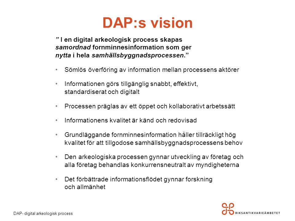 """DAP- digital arkeologisk process DAP:s vision """" I en digital arkeologisk process skapas samordnad fornminnesinformation som ger nytta i hela samhällsb"""