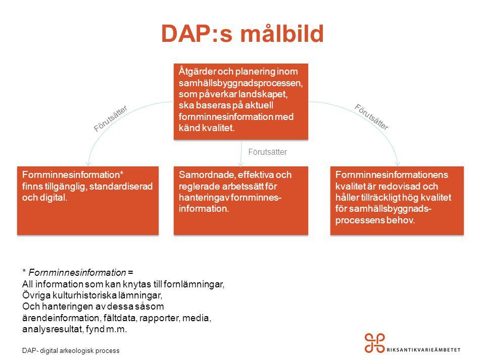 DAP- digital arkeologisk process DAP:s målbild Fornminnesinformation* finns tillgänglig, standardiserad och digital. Fornminnesinformation* finns till