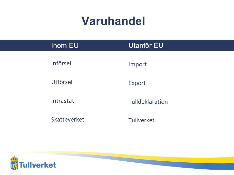 Varuhandel Inom EU Införsel Utförsel Intrastat Skatteverket Utanför EU Import Export Tulldeklaration Tullverket