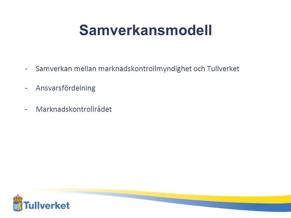 Samverkansmodell -Samverkan mellan marknadskontrollmyndighet och Tullverket -Ansvarsfördelning -Marknadskontrollrådet