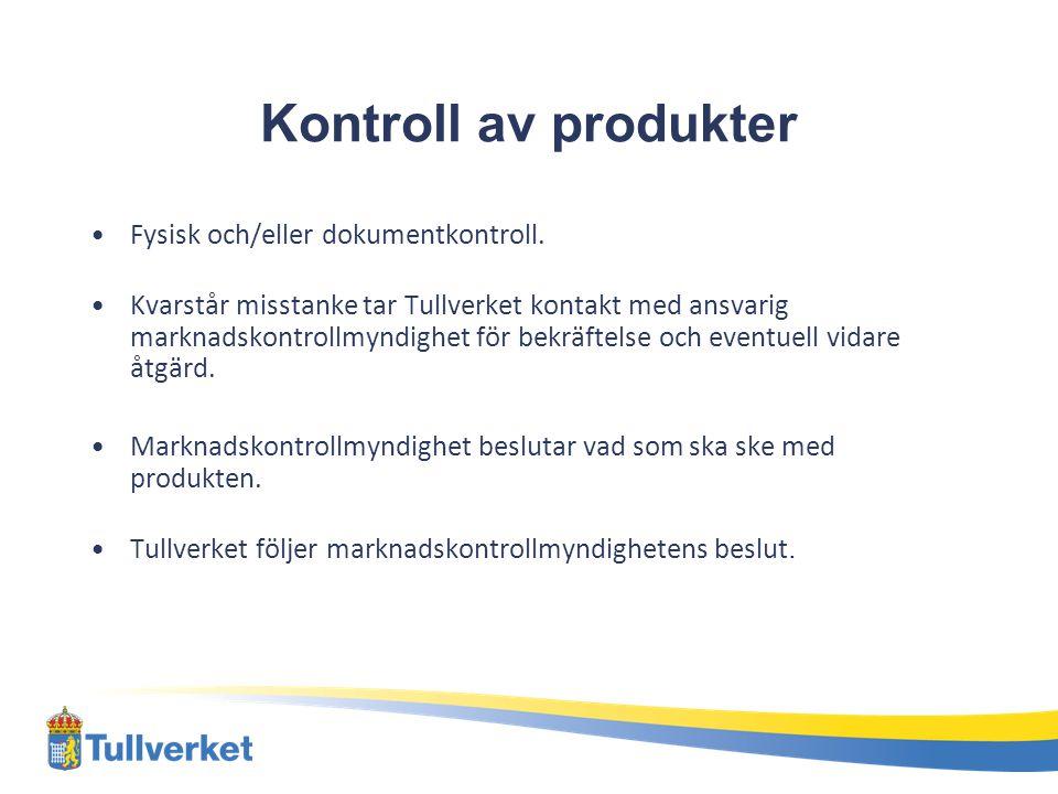Kontroll av produkter Fysisk och/eller dokumentkontroll.