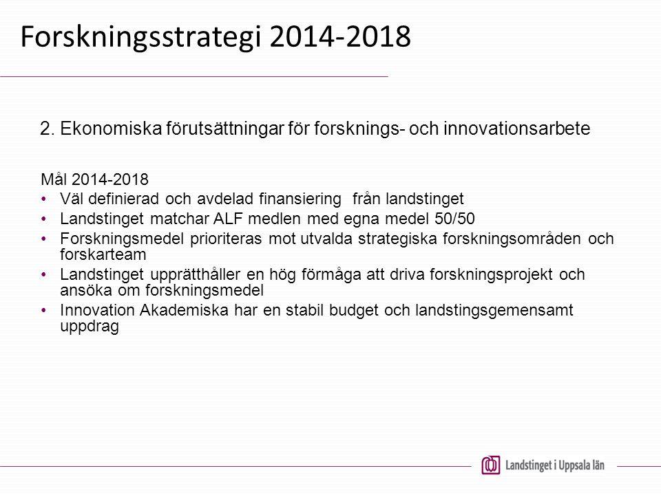 Forskningsstrategi 2014-2018 Mål 2014-2018 Väl definierad och avdelad finansiering från landstinget Landstinget matchar ALF medlen med egna medel 50/5