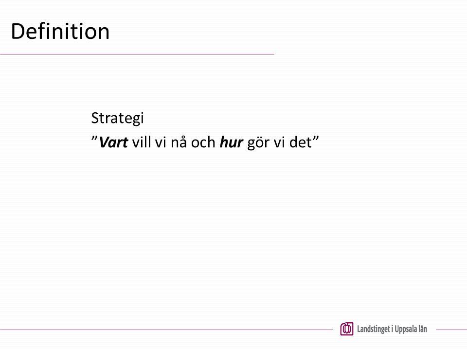 """Definition Strategi """"Vart vill vi nå och hur gör vi det"""""""