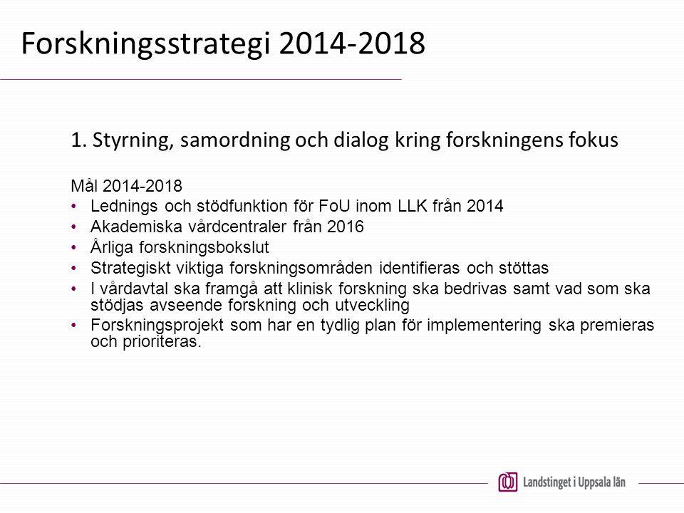Forskningsstrategi 2014-2018 1. Styrning, samordning och dialog kring forskningens fokus Mål 2014-2018 Lednings och stödfunktion för FoU inom LLK från