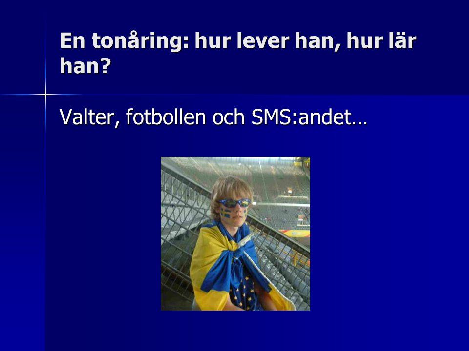 En tonåring: hur lever han, hur lär han Valter, fotbollen och SMS:andet…