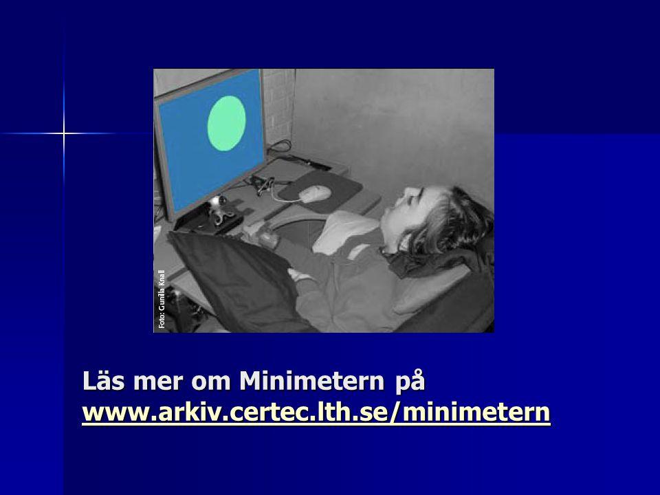 Läs mer om Minimetern på www.arkiv.certec.lth.se/minimetern www.arkiv.certec.lth.se/minimetern
