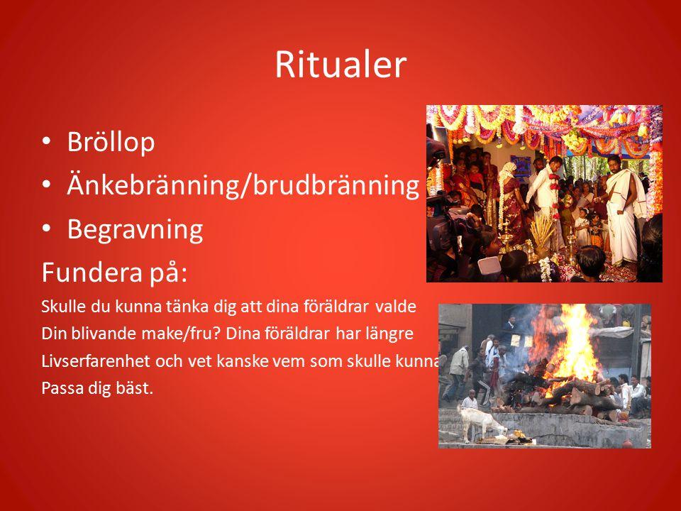 Ritualer Bröllop Änkebränning/brudbränning Begravning Fundera på: Skulle du kunna tänka dig att dina föräldrar valde Din blivande make/fru? Dina föräl