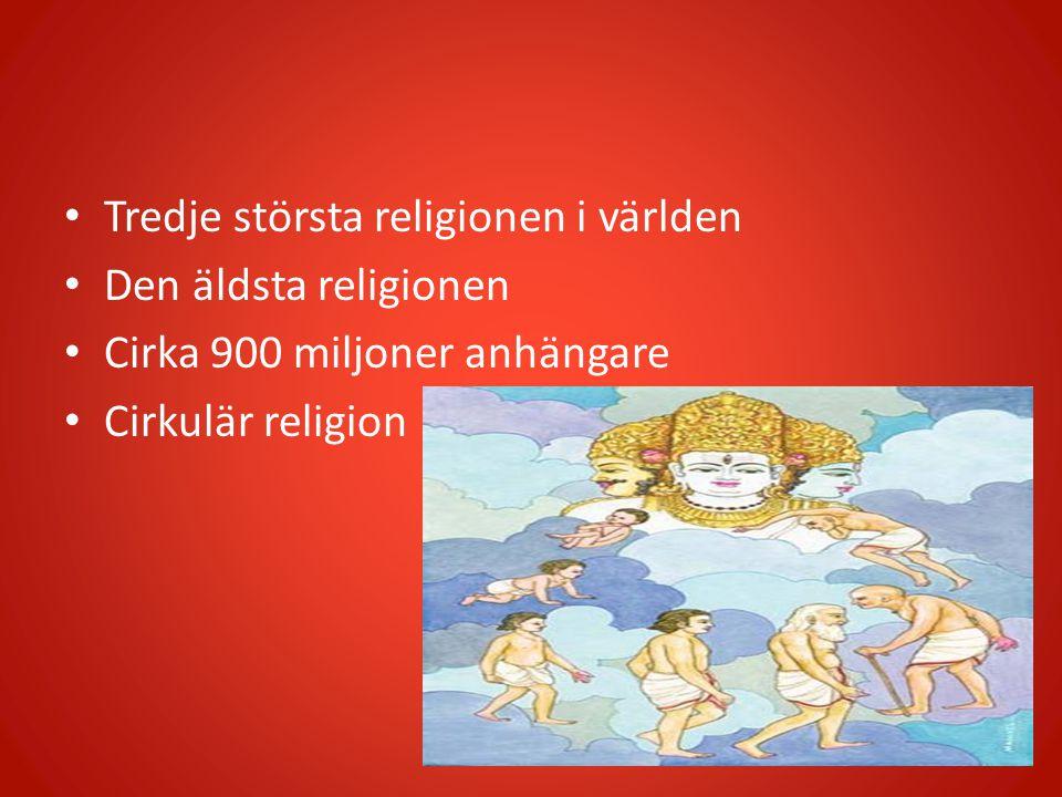 Tredje största religionen i världen Den äldsta religionen Cirka 900 miljoner anhängare Cirkulär religion