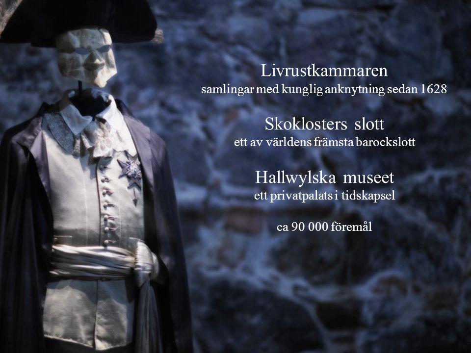 Livrustkammaren samlingar med kunglig anknytning sedan 1628 Skoklosters slott ett av världens främsta barockslott Hallwylska museet ett privatpalats i tidskapsel ca 90 000 föremål