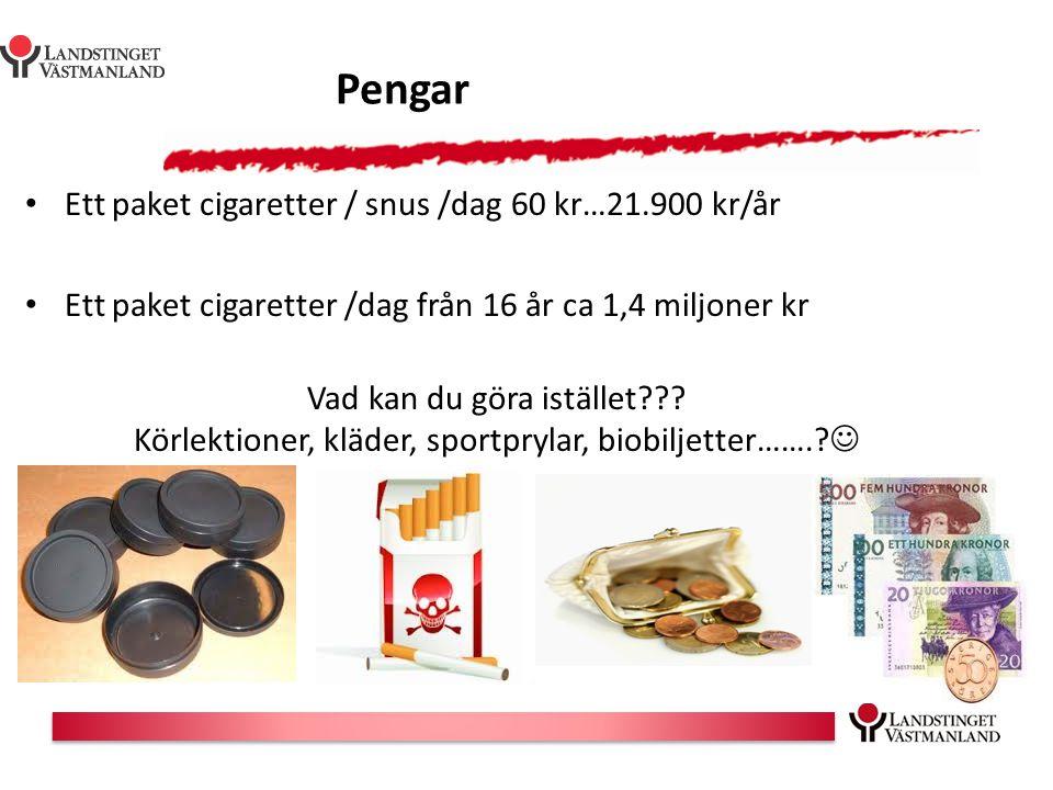 Pengar Ett paket cigaretter / snus /dag 60 kr…21.900 kr/år Ett paket cigaretter /dag från 16 år ca 1,4 miljoner kr Vad kan du göra istället??? Körlekt