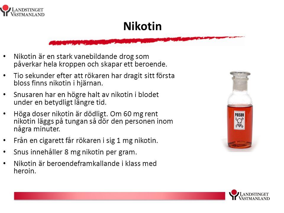 Nikotin Nikotin är en stark vanebildande drog som påverkar hela kroppen och skapar ett beroende. Tio sekunder efter att rökaren har dragit sitt första