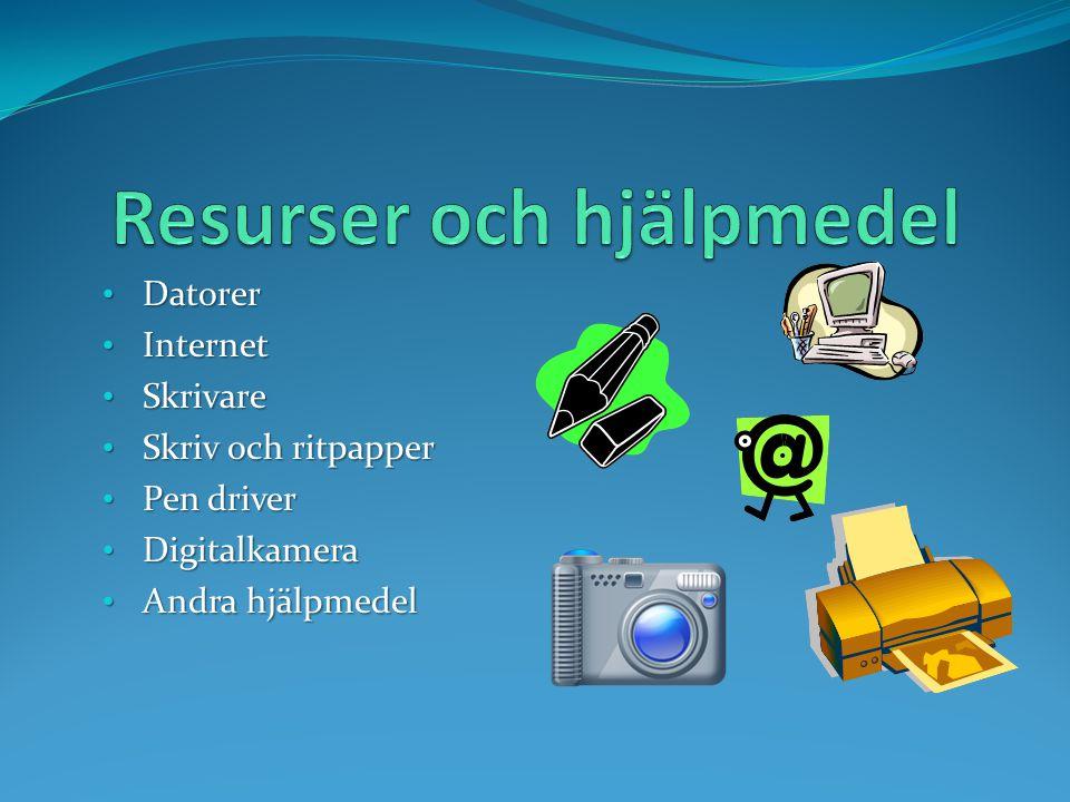 Datorer Datorer Internet Internet Skrivare Skrivare Skriv och ritpapper Skriv och ritpapper Pen driver Pen driver Digitalkamera Digitalkamera Andra hj