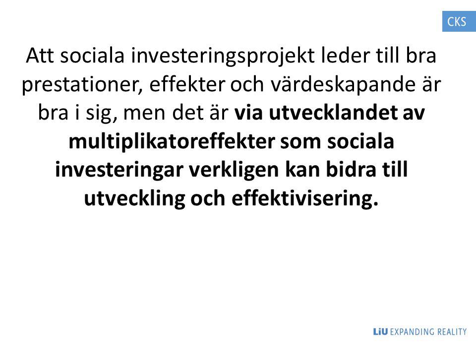 Att sociala investeringsprojekt leder till bra prestationer, effekter och värdeskapande är bra i sig, men det är via utvecklandet av multiplikatoreffe