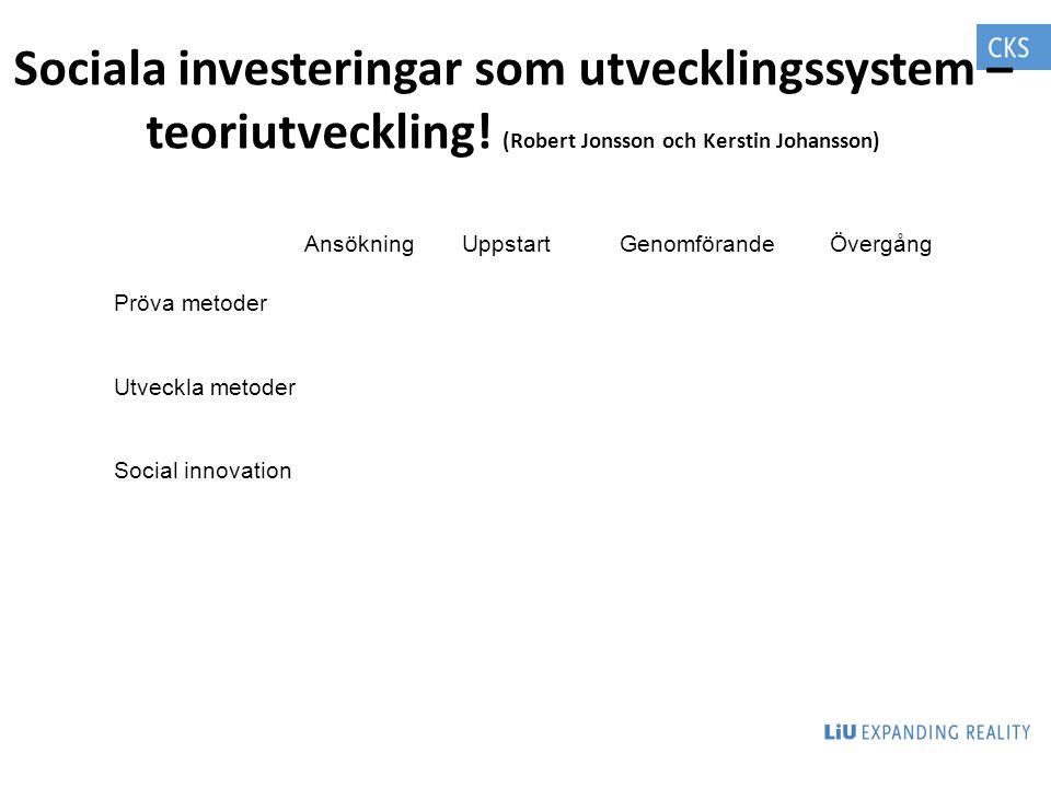 Sociala investeringar som utvecklingssystem – teoriutveckling! (Robert Jonsson och Kerstin Johansson) AnsökningUppstartGenomförandeÖvergång Pröva meto