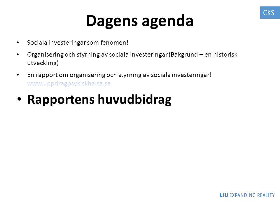 Dagens agenda Sociala investeringar som fenomen! Organisering och styrning av sociala investeringar (Bakgrund – en historisk utveckling) En rapport om