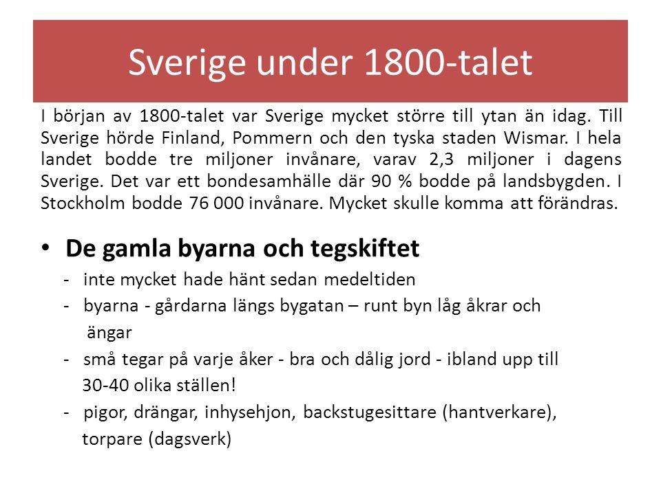 Skiftena – enskiftet och laga skiftet - Rutger Maclean - Svaneholm i Skåne - enskiftet - all jord samlades på ett ställe - flyttade ut ur byarna - genomfördes i hela Skåne 1803 - växelbruk - ingen jord i träda - växlade grödorna - laga skiftet – jorden samlades på förre ställe än i tegskiftet – genomfördes i mellersta och norra Sverige 1827