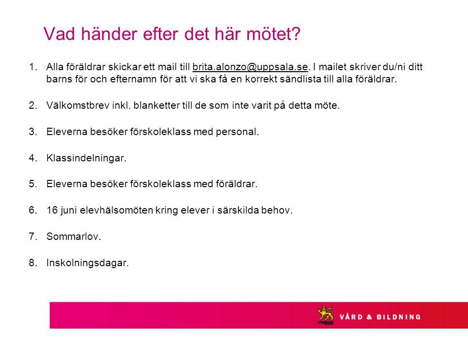 Vad händer efter det här mötet? 1.Alla föräldrar skickar ett mail till brita.alonzo@uppsala.se. I mailet skriver du/ni ditt barns för och efternamn fö