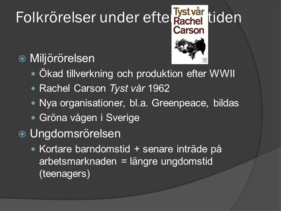 Folkrörelser under efterkrigstiden  Miljörörelsen Ökad tillverkning och produktion efter WWII Rachel Carson Tyst vår 1962 Nya organisationer, bl.a. G