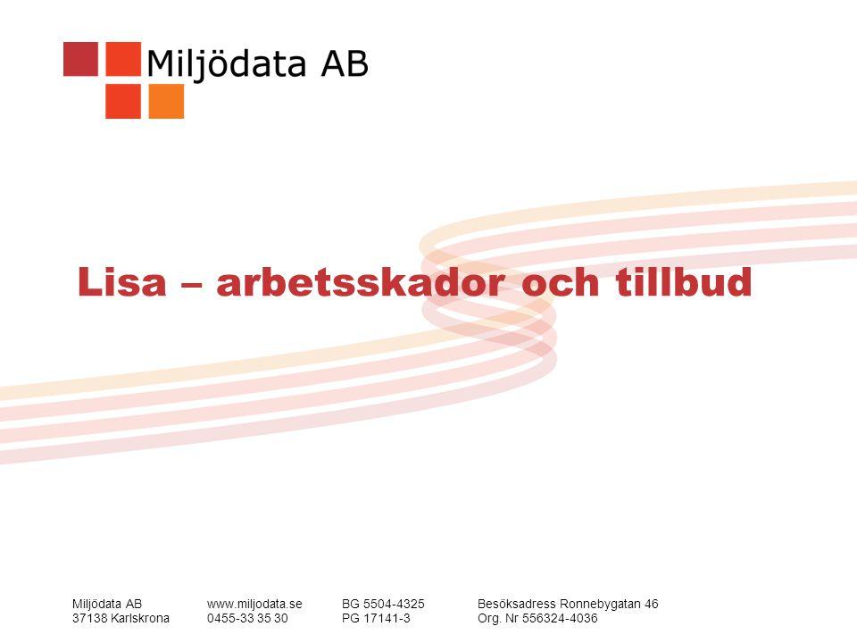 Miljödata ABwww.miljodata.seBG 5504-4325Besöksadress Ronnebygatan 46 37138 Karlskrona0455-33 35 30PG 17141-3Org.