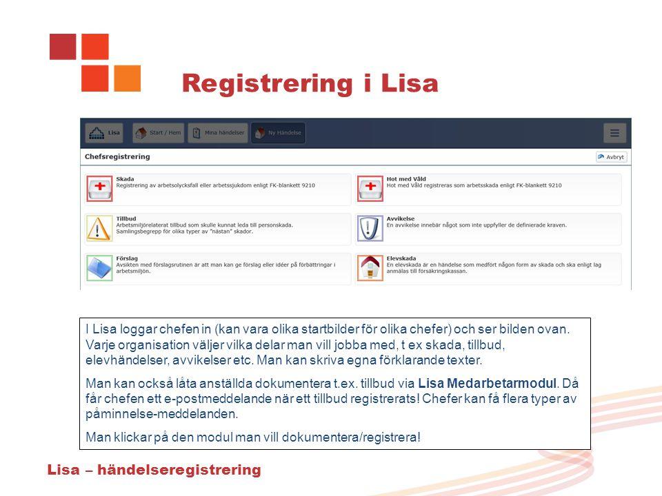Registrering i Lisa I Lisa loggar chefen in (kan vara olika startbilder för olika chefer) och ser bilden ovan.