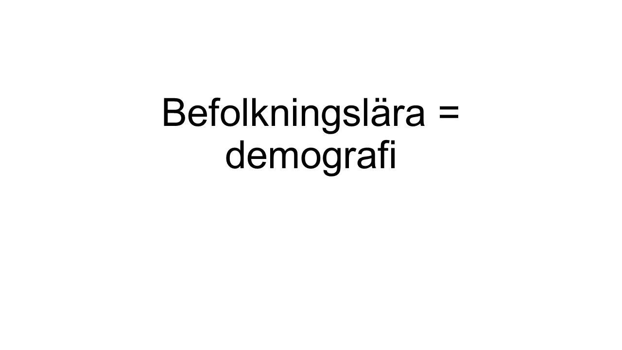 Befolkningslära = demografi
