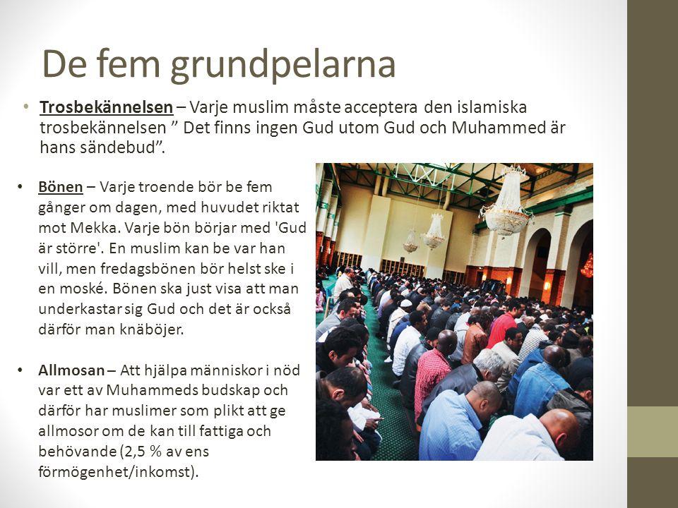 """De fem grundpelarna Trosbekännelsen – Varje muslim måste acceptera den islamiska trosbekännelsen """" Det finns ingen Gud utom Gud och Muhammed är hans s"""