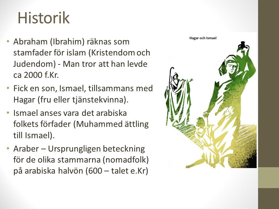 Historik Abraham (Ibrahim) räknas som stamfader för islam (Kristendom och Judendom) - Man tror att han levde ca 2000 f.Kr. Fick en son, Ismael, tillsa