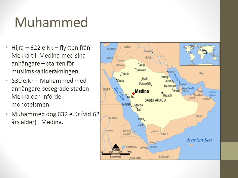 Muhammed Hijra – 622 e.Kr. – flykten från Mekka till Medina med sina anhängare – starten för muslimska tideräkningen. 630 e.Kr – Muhammed med anhängar